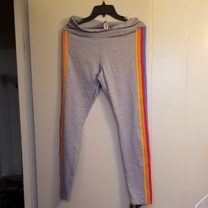 Forever 21 grey leggings with rainbow stripes